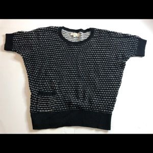 Loft black and white 100% cotton knit top